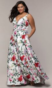 White Floral Plus Size Prom Dress