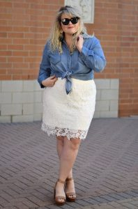 White Lace Pencil Skirt Plus Size