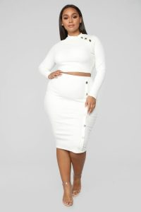 White Midi Pencil Skirt Plus Size