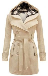 White Peacoat With Hood In Plus Size
