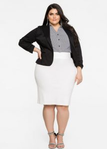 Women's Plus Size White Pencil Skirt