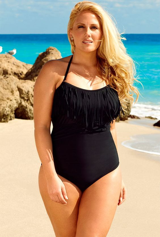 Black Fringe Halter Swimdress