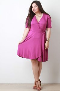 Dark Pink Wrap Dress Plus Size