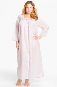 Front Button Cotton Nightgown