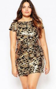 Gold Sequin Shift Dress Plus Size