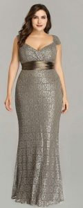 Gray Formal Gown Plus Size