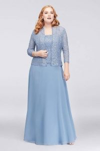Light Blue Plus Size Long Dress