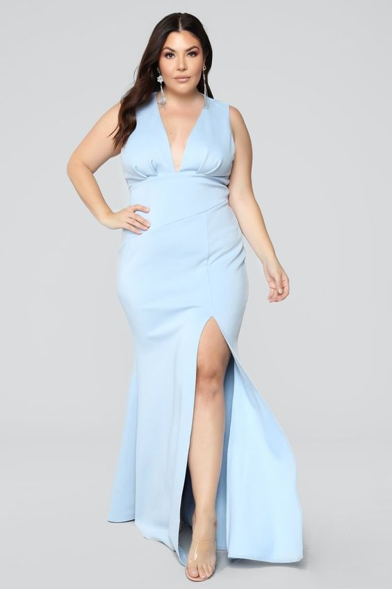 Light Blue Plus Size Prom Dress