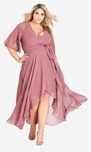 Pink Wrap Dress Plus Size