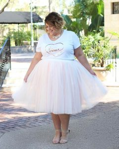 Pleated Plus Size White Tulle Skirt