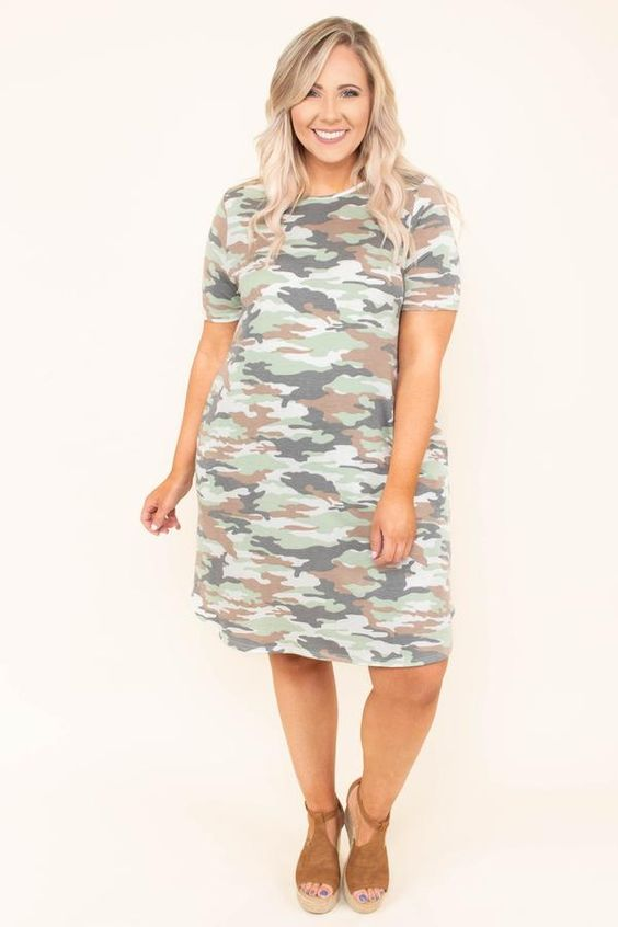 Plus Size Cotton Camo T shirt Dress