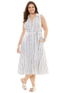 Plus Size Cotton Maxi Shirtdress