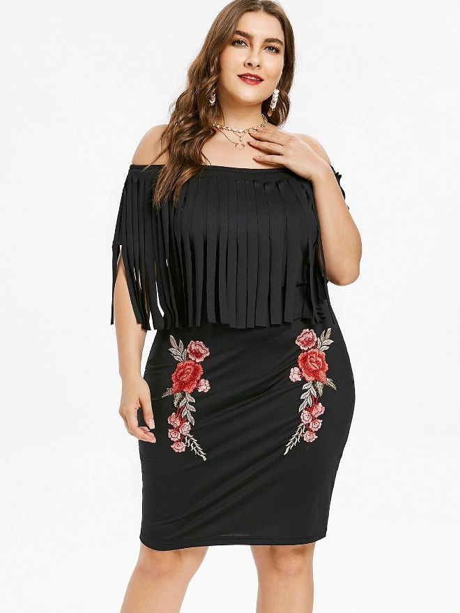 Plus Size Fringe Dress