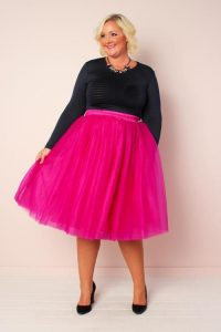 Plus Size Hot Pink Tulle Skirts