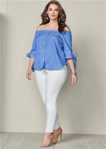 Plus Size Off Shoulder Summer Shirts
