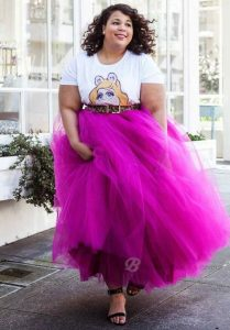 Plus Size Pink Maxi Tulle Skirt