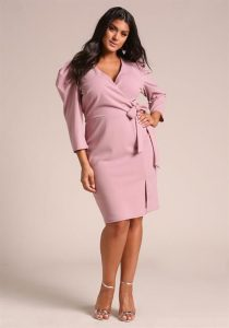 Plus Size Pink Wrap Dresses