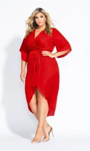 Plus Size Red Wrap Dress