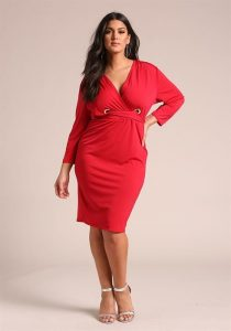 Plus Size Red Wrap Dresses