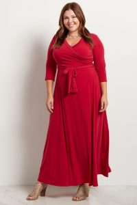 Plus Size Red Wrap Maxi Dress