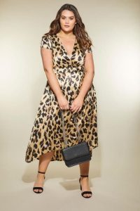 Plus Size Satin Wrap Dress