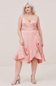 Plus Size Satin Wrap Dresses