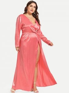 Plus Size Satin Wrap Gown