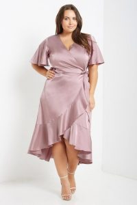 Plus Size Satin Wrap Midi Dress