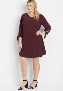 Plus Size Shift Dress With Tie Sleeves