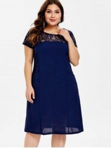 Plus Size Shift Lace Dress With Sleeves