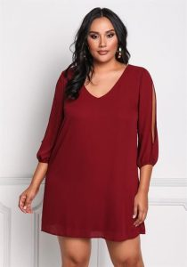 Plus Size Sleeve Slit Shift Dress