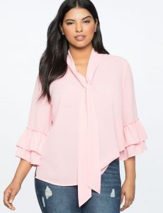 Plus Size Tie Neck Shirts