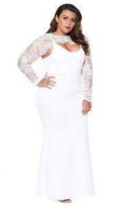 Plus Size White Lace Maxi Dress