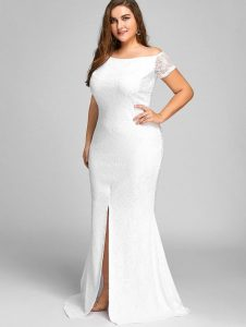 Plus Size White Lace Maxi Dress With Sleeves