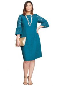 Plus Sized Shift Dress With Sleeves