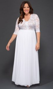 Plus Sized White Lace Maxi Dress