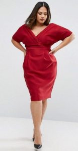 Red Plus Size Wrap Dress
