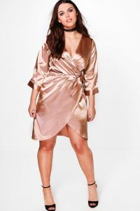 Satin Plus Size Wrap Dress