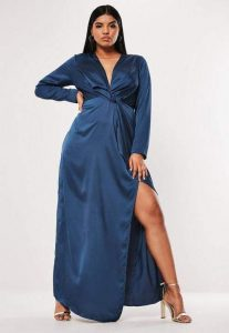 Satin Thigh Split Maxi Dress