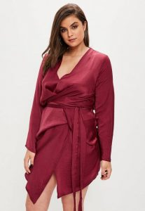 Satin Wrap Dress Plus Size