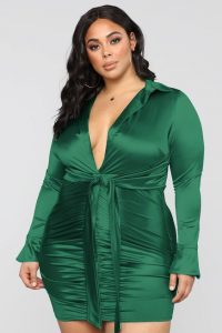 Satin Wrap Mini Dress Plus Size