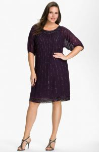 Sequin Shift Dress With Sleeves