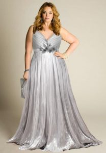 Silver Plus Size Formal Gown