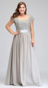 Silver Plus Size Prom Dress