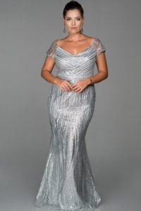 Silver Plus Size Prom Dresses
