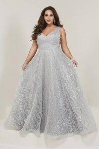 Silver Plus Size Prom Gowns