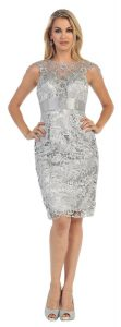 Silver Plus Size Prom Short Dress