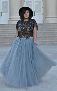 Silver Plus Size Tulle Skirt