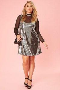 Silver Sequinned Shift Dresses