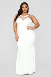 Sleeveless Plus Size White Lace Maxi Dress